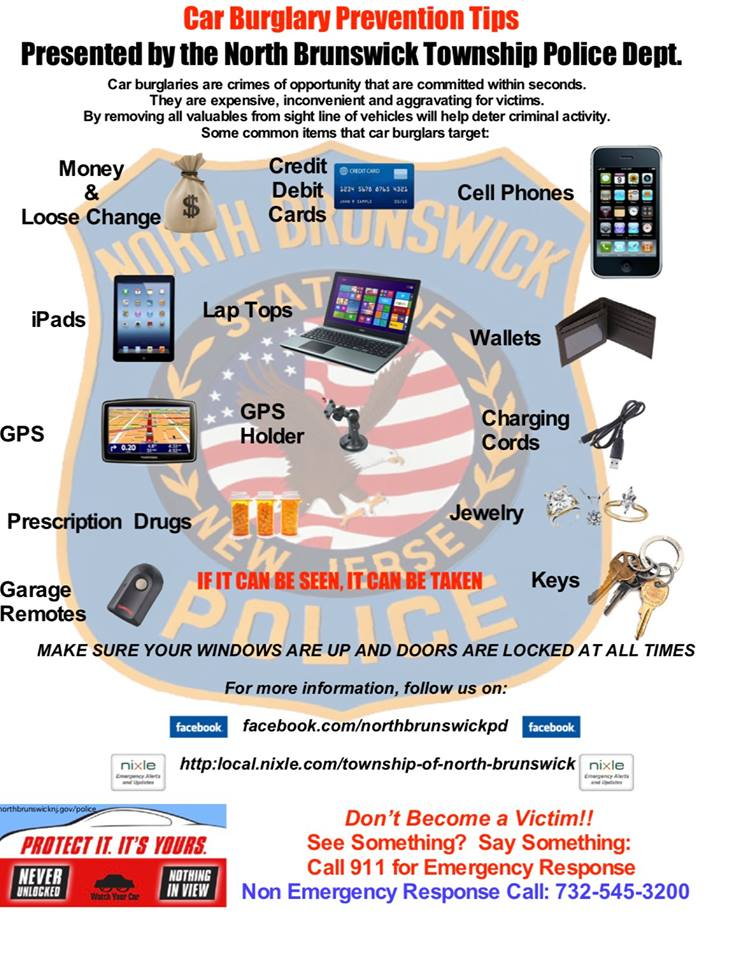 poster outlining the ways to avoid auto related theft